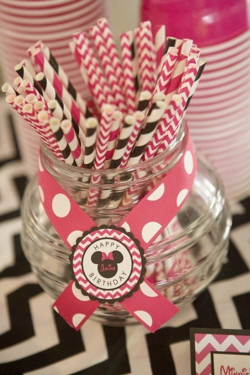 Minnie Mouse Birthday Party Drink Straws