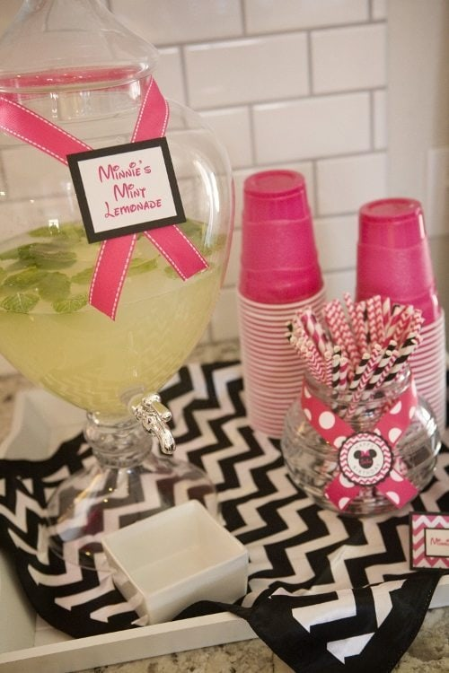 Minnie Mouse Birthday Party Mint Lemonade