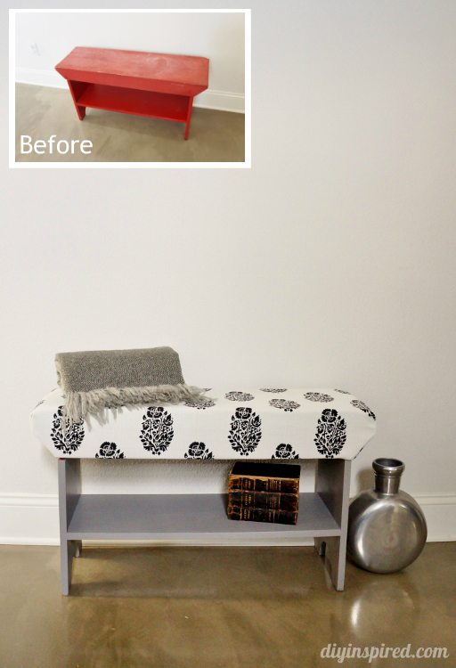 DIY Wood Upholstered Bench Before and After