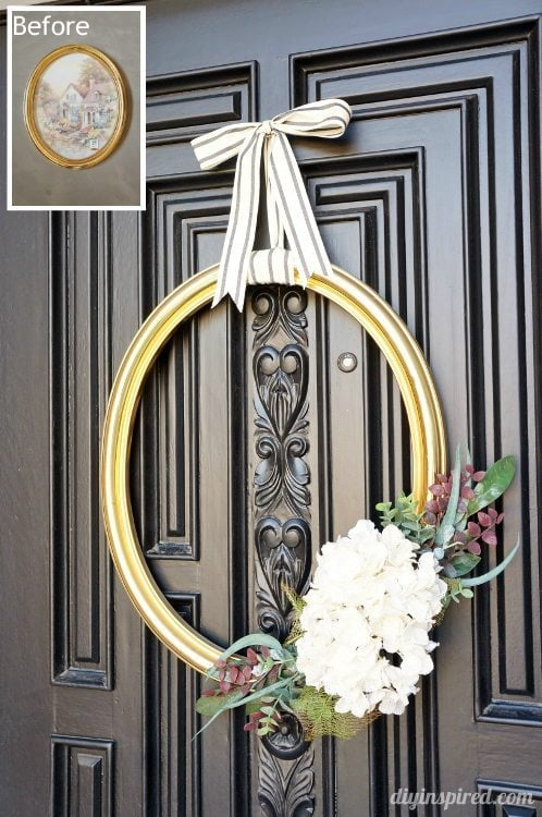 Front Door Frame Wreath Before and After