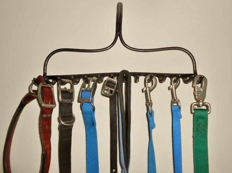 Repurposed Rake Turned Dog Leash Holder