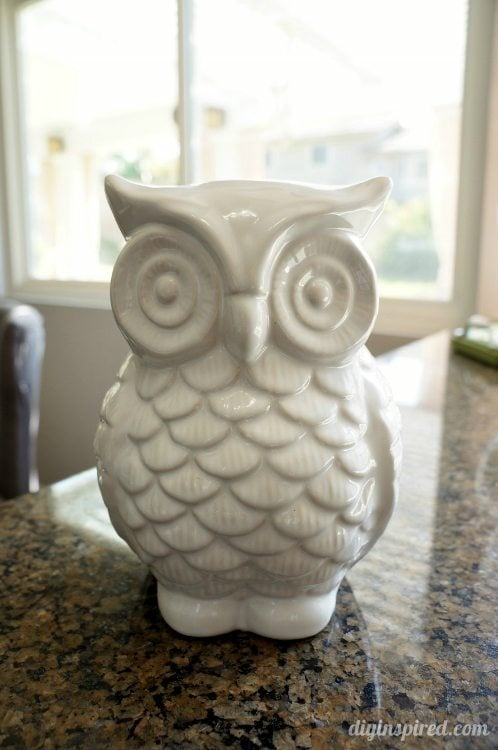 Upcycled White Ceramic Owl