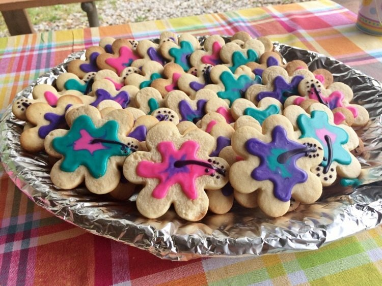 Beach Themed Party Flower Cookies