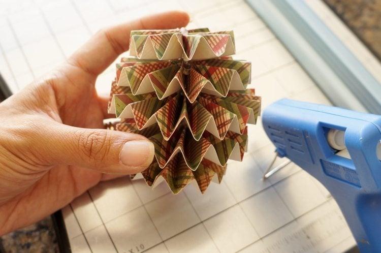 DIY Paper Christmas Ornaments Hot Glue