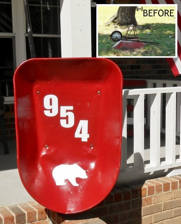 Repurposed Wheelbarrow Turned Address Sign