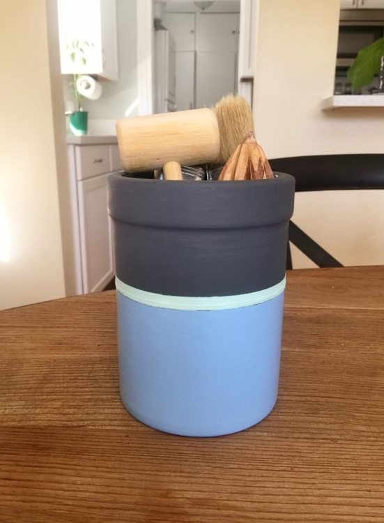 Striped Utensil Holder Makeover