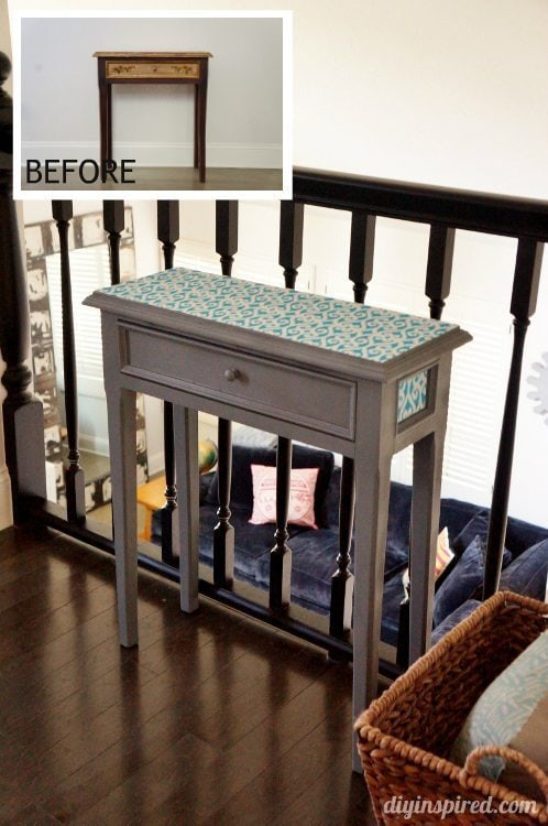 Wooden Side Table Makeover Before and After