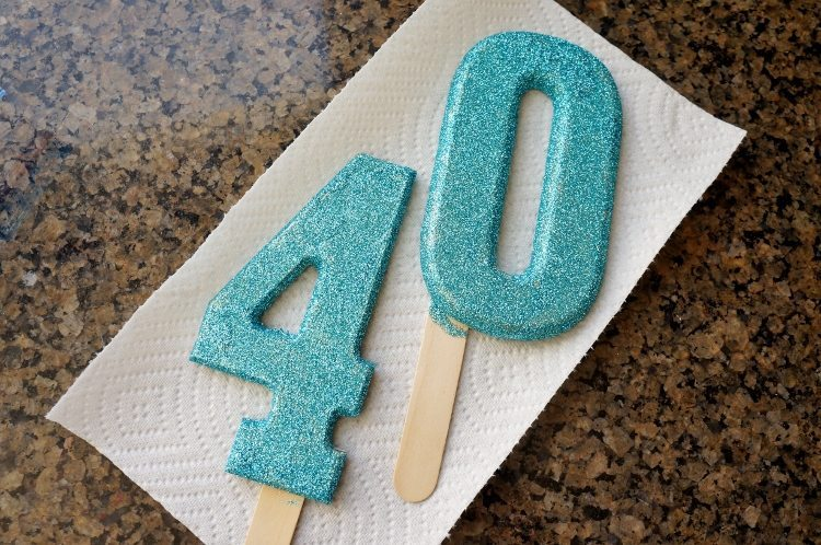 DIY Glittered Cake Topper