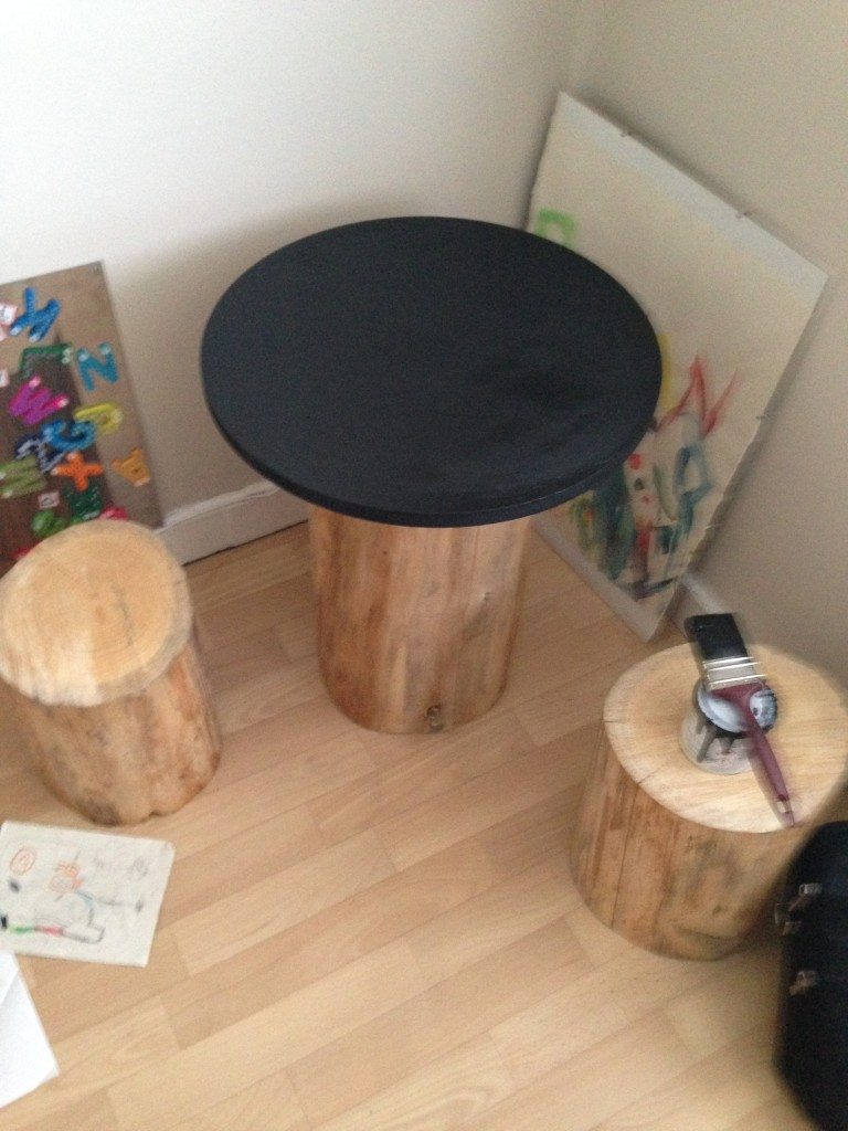 DIY Tree Trunk and Toadstools Table