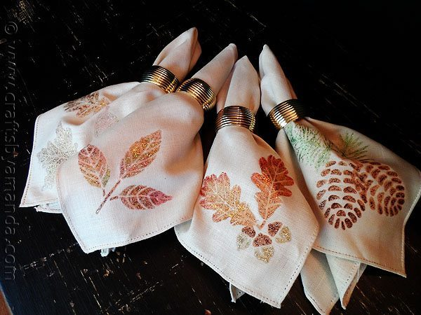 Glittered Thanksgiving Napkins