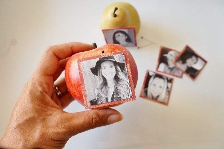DIY Photo Place Cards with Fruit
