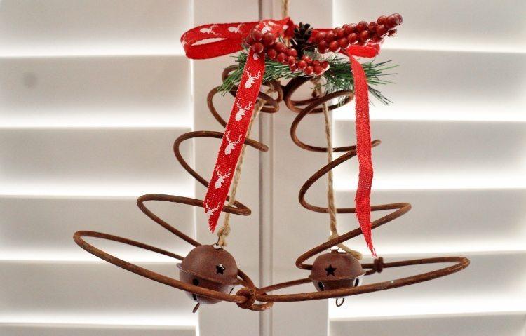 Repurposed Bed Spring Christmas Bells