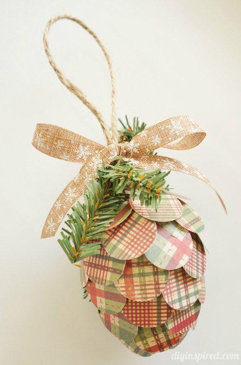 Repurposed Paper Pine Cone Ornament Paper Craft DIYInspired.com