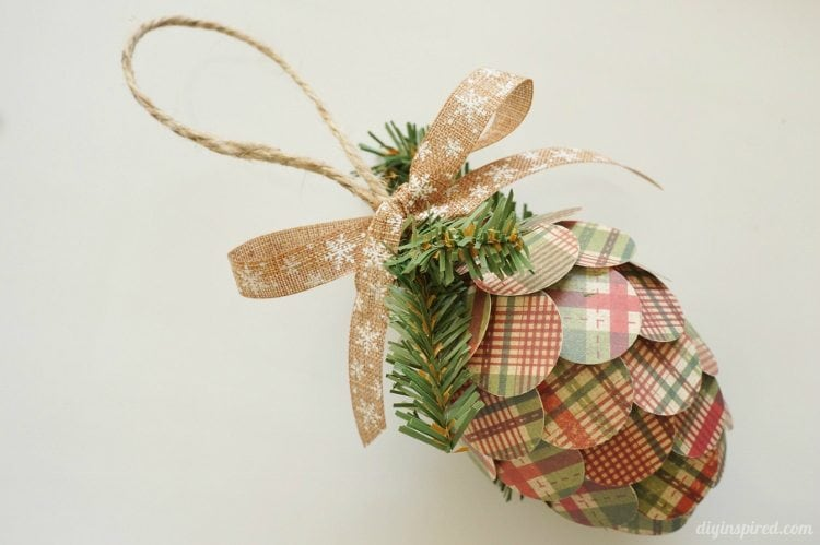 Repurposed Paper Pine Cone Ornaments