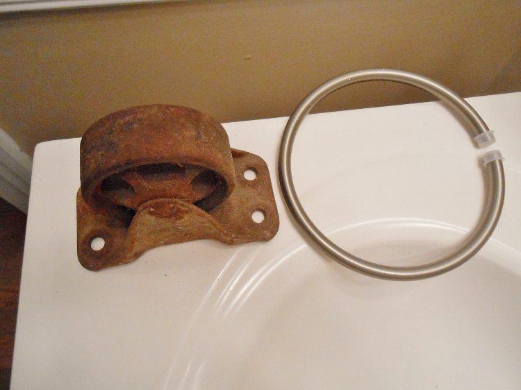 Rusty Wheel Turned Towel Holder