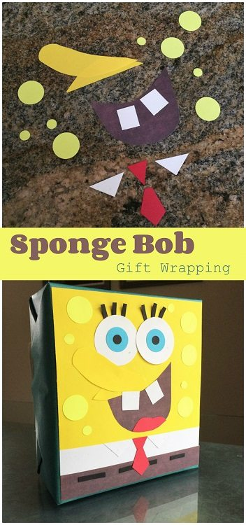 Spongebob Squarepants Gift Wrapping with Paper Scraps