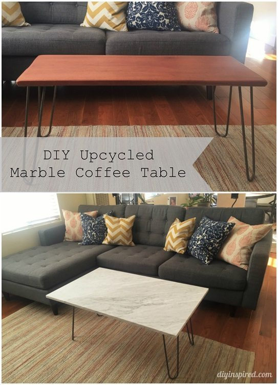 DIY Upcycled Marble Coffee Table - DIY Inspired