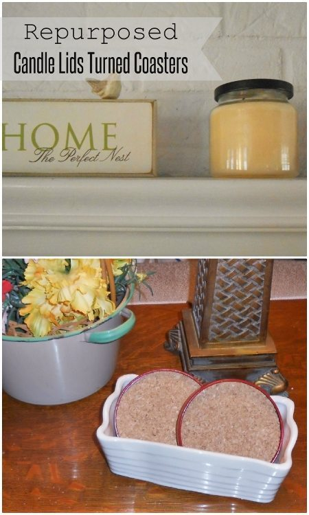 Repurposed Candle Lids Turned Coasters-DIY Inspired
