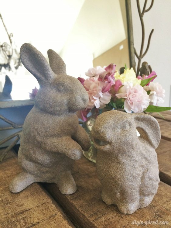 Spray Painted Stone Easter Bunnies - DIY Inspired