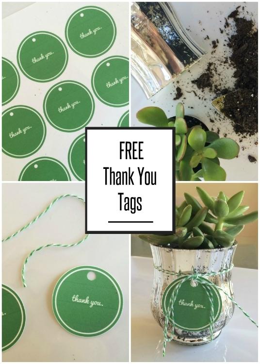 Green Printable Thank You Gift Tags