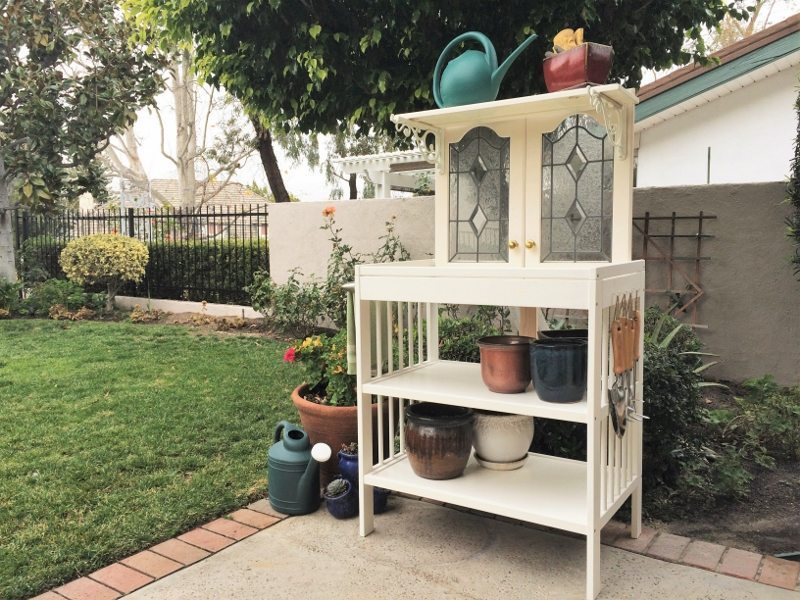Repurposed Changing Table to Potting Bench