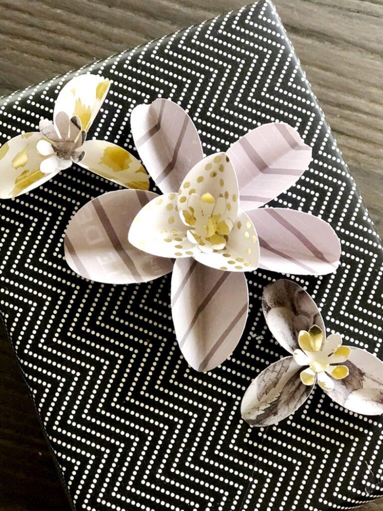 Black White Gold Paper Flowers
