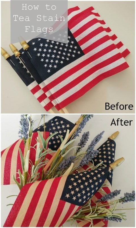 How to Tea Stain Flags DIY Inspired