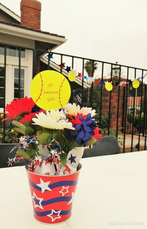Red, White, Blue Softball Party Centerpiece