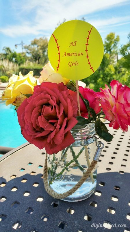 Softball Party Flower Centerpieces