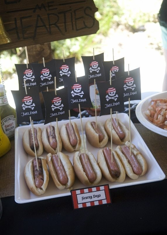 Pirate Party Ideas - Party Food Hot Dogs