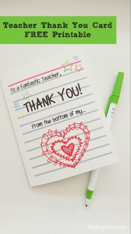 Teacher Thank You Card Printable - DIY Inspired