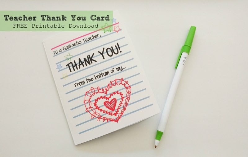 Teacher Thank You Card Printable