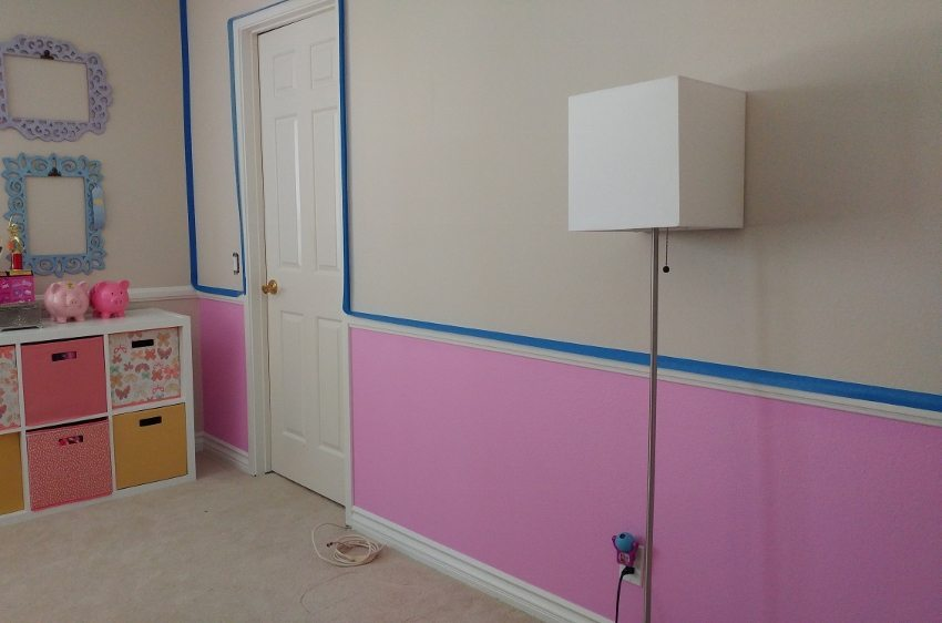 Kid's Room with Pink Chair Rail