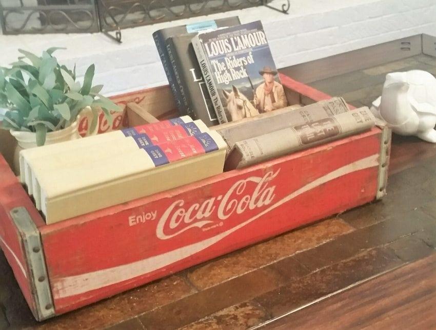 Repurposed Coca Cola Boxes for Books