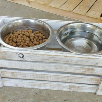 Repurposed DIY Dog Bowl Stand