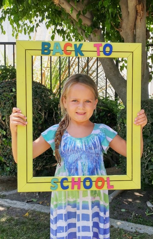 Back to School Photo Frame from a Thrift Store Painting