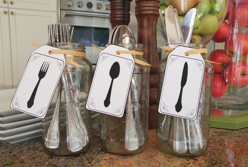 Recycled Jar Utensil Holders