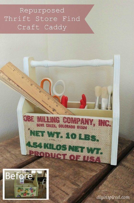 Repurposed Thrift Store Craft Caddy - DIY Inspired