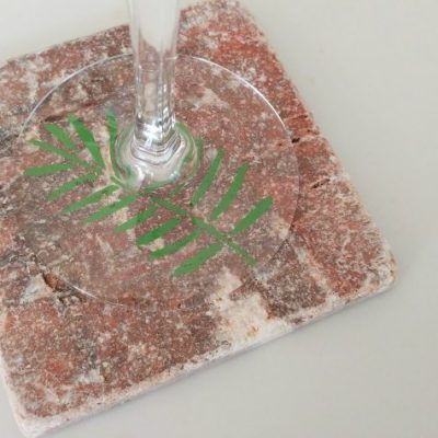 Repurposed Tile Coaster with Stenciling