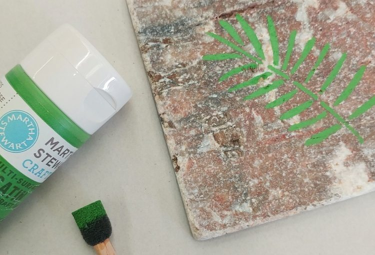 Repurposed Tile Coaster with Paint