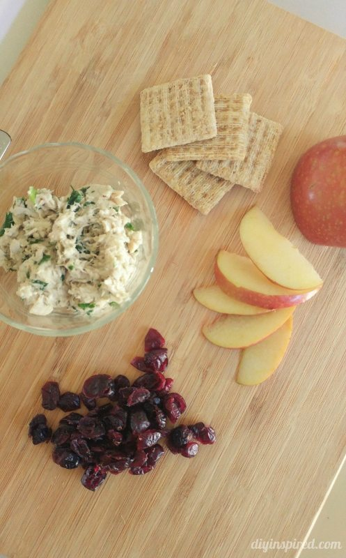 TRISCUIT Smoked Gouda Crackers, Tuna Salad, Sliced Apples, Dried Cranberries