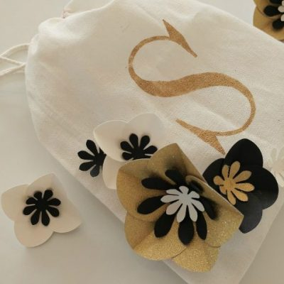 Stenciled Gift Bag with Paper Flowers