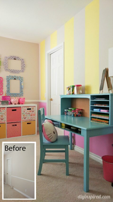 Girls Bedroom Decor Idea - Pink Yellow Blue - DIY Inspired