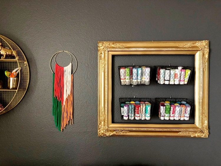 Old Frame turned Craft Paint Storage