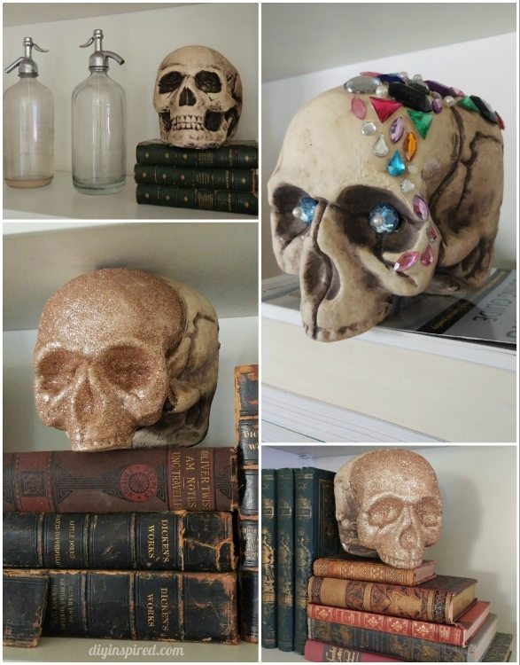 halloween-decor-glittered-and-jeweled-skulls-and-antique-books