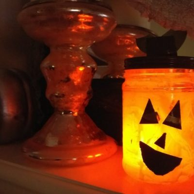 Recycled Jar Pumpkin Lantern