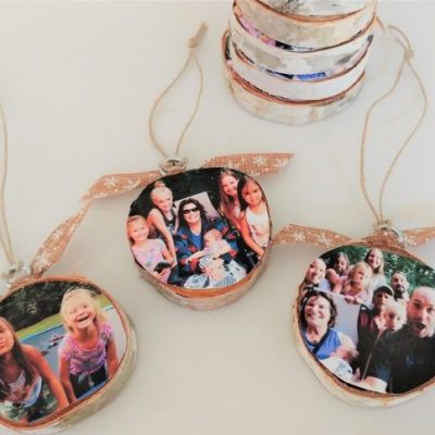 DIY Wood Slice Photo Memory Ornaments