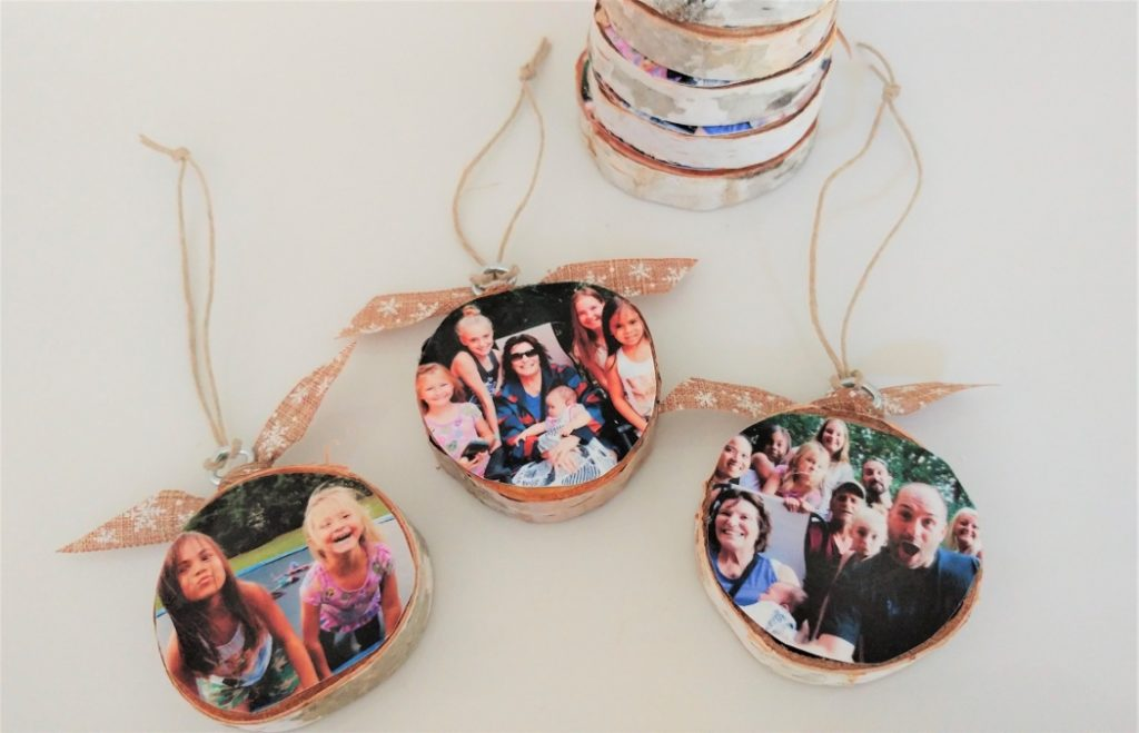 DIY Wood Slice Photo Ornaments