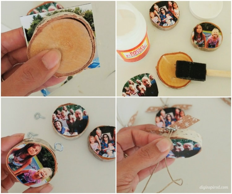 DIY Wood Slice Photo Ornaments Instructions