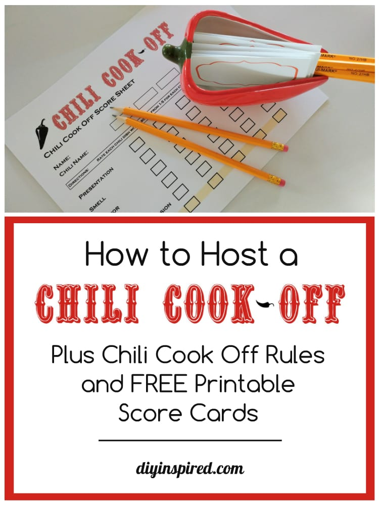 chili cook off rules and free score sheet